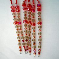 Set of 6 x Hanging Red Icicle Decorations