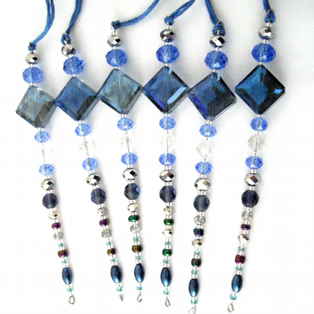 Set of 6 x Hanging Blue Icicle Decorations - UK Free Post