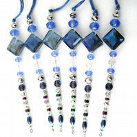 Set of 6 x Hanging Blue Icicle Decorations