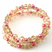 Pink Champagne and Pearls Memory Wire Bracelet