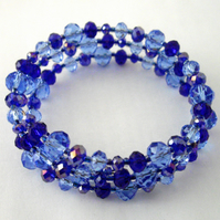 Blue Crystal Memory Wire Bracelet