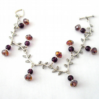 Purple and Silver Leaf Bracelet - UK Free Post
