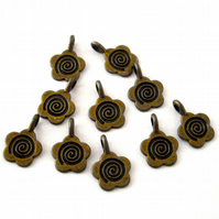 10 x Bronze Tone Flower Charms - Glue on Bails