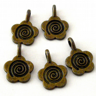 5 x Bronze Tone Flower Charms - Glue on Bails