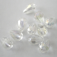 10 x AB Clear Crystal Teardrop Beads
