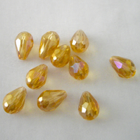 10 x AB Champagne -  Amber Crystal Teardrop Beads