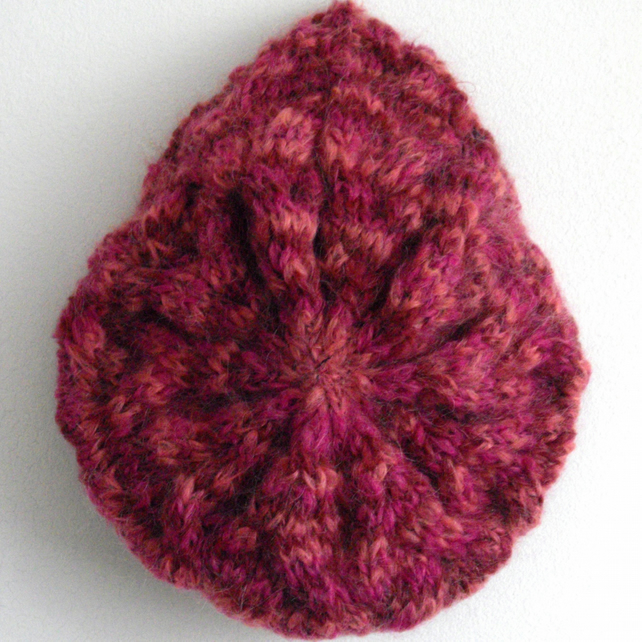 Pretty Pink Tones Hand Knitted Beret