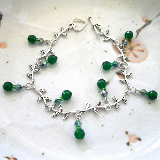 Aventurine Gemstone Leaf Bracelet - UK Free Post
