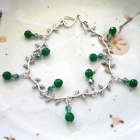 Green Aventurine Gemstone Leaf Bracelet - UK Free Post