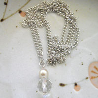 Long Vintage Crystal and Pearl Bead Pendant