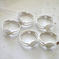 5 x Silver Plated Adjustable Ring Blanks