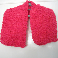 Pink Pom Pom Hand Knitted Scarf - UK Free Post