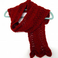 Red Patterned Hand Knitted Scarf