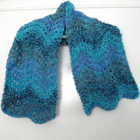 Turquoise Patterned Hand Knitted Scarf - UK Free Post