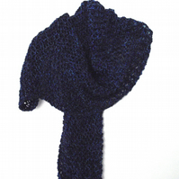 Large Blue Multi-tonal Hand Knitted Scarf