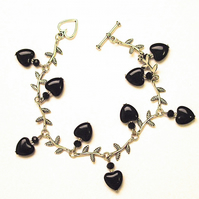 Black Heart Leaf Bracelet - UK Free Post