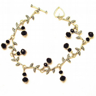 Black Crystal Leaf Bracelet -  UK Free Post