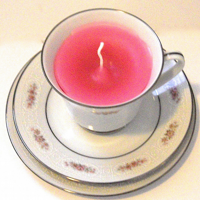 Vintage China Tea Cup Rose Candle with Saucer and Plate