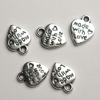 5 x 'Made With Love' Heart Charms