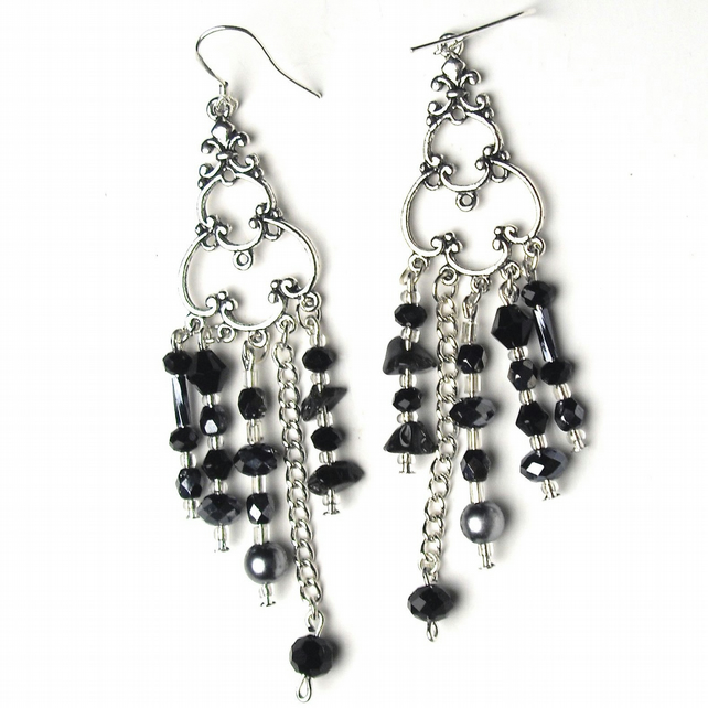 Black and Grey Chandelier Earrings