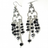 Black and Grey Chandelier Earrings - UK Free Post