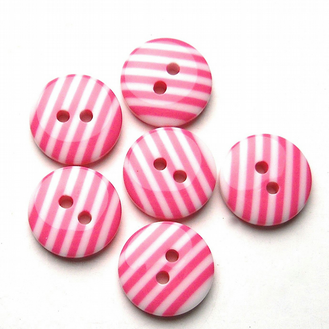 12 x Candy Pink Striped Buttons