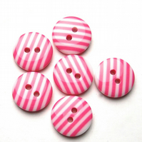 6 x Candy Pink Striped Buttons