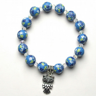 Blue Floral Polymer Bead Bracelet With Owl Charm - UK Free Post
