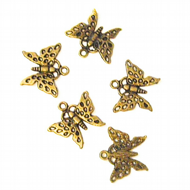 5 x Bronze Tone Butterfly Pendant Charms