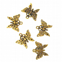 10 x Bronze Tone Butterfly Pendant Charms
