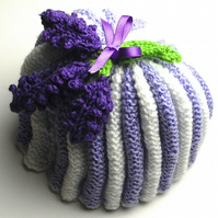 Purple and White Stripe Hand Knit Lavender Tea Cosy - UK Free Post