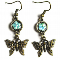 Bronze Forget-me-not Butterfly Earrings