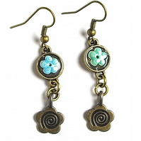 Bronze Forget-me-not Flower Earrings