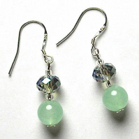 Pale Green Jade and Crystal Earrings