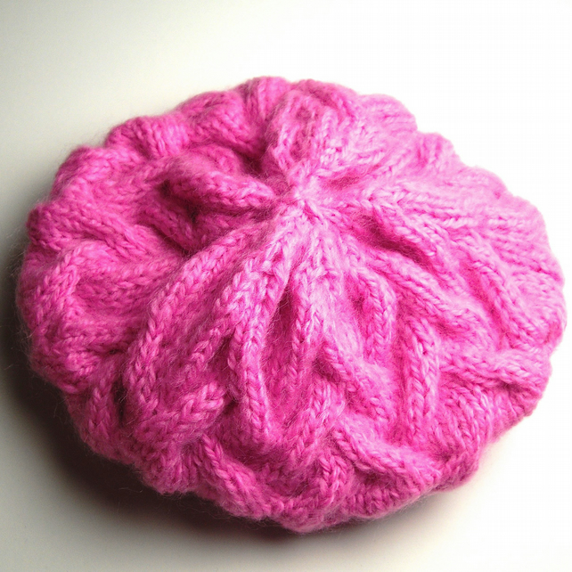 Chunky Knit Pink Hand Knitted Beret - UK Free Post