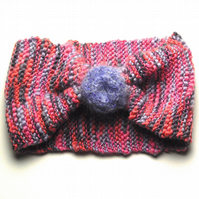 Wide Hand Knitted Wool Rich Headband