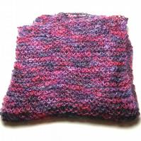 Purples and Reds Hand Knitted Scarf - UK Free Post