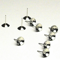20 x Rhodium Plated 8 mm Cup Stud Earring Findings