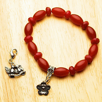 Brazillian Ruby Bracelet with Flower and Lovebirds Charms