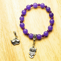 Violet Jade Bracelet with Owl and Cat Charms