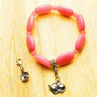 Pink Morganite Bracelet with Cat and Flower Charms - UK Free Post
