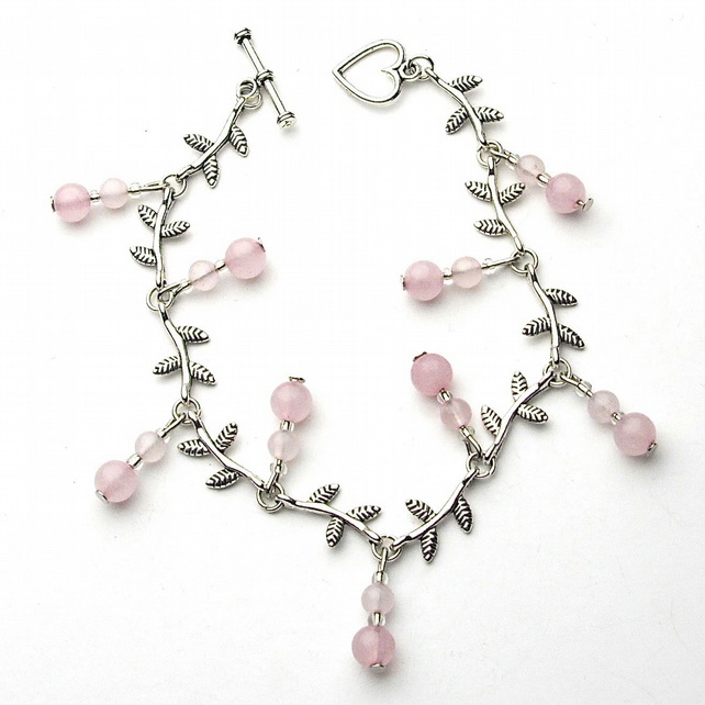 Rose Quartz Gemstone Leaf Bracelet