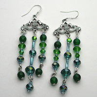 Jade and Crystal Chandelier Earrings - UK Free Post