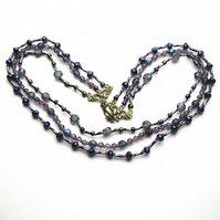 Three Strand Purple Vintage Style Necklace - UK Free Post