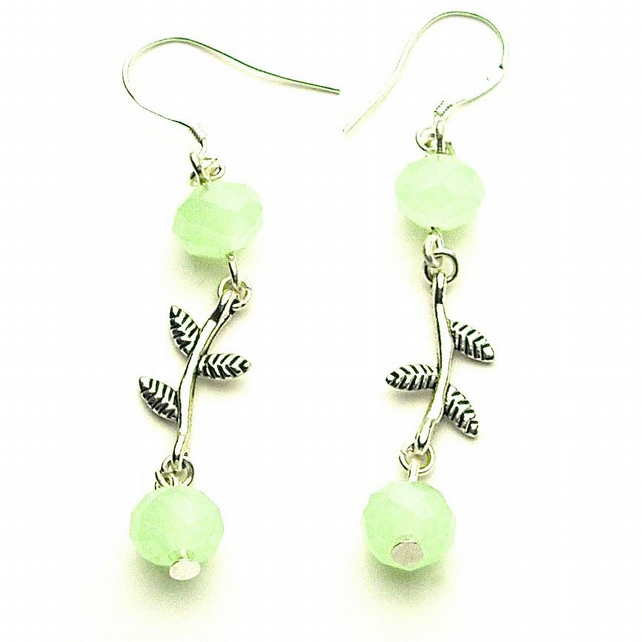 Pale Green Crystal Leaf Earrings