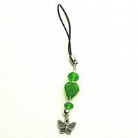 Green Leaf and Butterfly Phone or Bag Charm