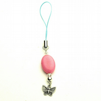 Pink Morganite and Butterfly Phone or Bag Charm - UK Free Post