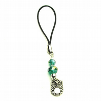 Turquoise Crystal Bead and Owl Phone or Bag Charm