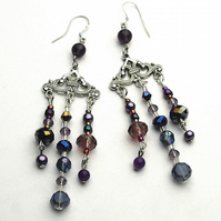 Purple Chandelier Earrings - UK Free Post