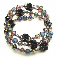 Floral Black and Purple Crystal Memory Wire Bracelet - UK Free Post